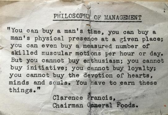 Philosophy of management clarence francis general foods